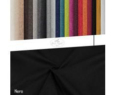 Generico Tessuto Idrorepellente al Mezzo Metro - Stoffa ANTIMACCHIA in Poliestere - Oxford Canvas - Morbido e Resistente - Altezza 140 cm - 1 QTA = 50 cm - 21 Colori (Nero)