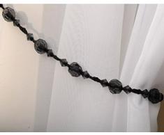 Ideal Textiles - Cordone fermatenda con perline Twinkle, colore nero