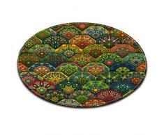 Mandala indiano buddismo decorazione floreale Antiscivolo Lavabile in lavatrice Tappeto rotondo Soggiorno Camera da letto Bagno Cucina Morbido Tappeto Tappeto Oggettistica per la casa,60x60 CM