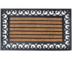 Esschert Design - Zerbino rettangolare in gomma, a lavorazione artistica, inserto centrale in fibre di cocco, circa 76 cm x 45 cm, colore: Nero/Naturale cocco