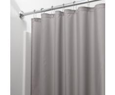 iDesign Tenda doccia, Tenda da doccia in poliestere con orlo rinforzato, Tenda per vasca da bagno lavabile con dimensioni di 183,0 cm x 183,0 cm, grigio