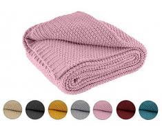 Coperta lavorata a maglia, 140 x 190 cm, colore rosa – Coperta a maglia OekoTex, calda e morbida, collezione autunnale, inverno 20/21, regalo