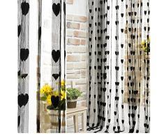 Nappa linea String Drappeggio Tenda per Parete Porta Finestra Vestibolo Home Decor Divisore 1 m x 2 m,Black