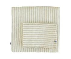 Linen & Cotton Set Copripiumino/ Biancheria da Letto in Lino Lavato (Stonewashed), A Righe, 140 x 200cm (Single)