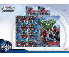 Completo Lenzuola Letto Singolo Disney Fantasia Frozen Avengers Supereroi Spiderman Bambino Bambina (Avengers)