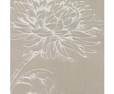 Just Contempo - Tende con fettuccia a sigaretta in stile moderno, con delicato ricamo floreale, in tinta pastello, Poliestere, naturale beige, paio di tende 167 x 183 cm (soggiorno)