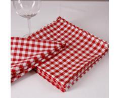 Tovagliolo, 1 x 1 cm, cotone, molti colori e taglie senza cuciture a quadri, a quadretti, tessuto, biancheria da tavolo 40 x 40 cm Rot und Weiß