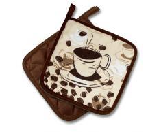 """Kamaca - Set accessori da cucina, serie originale """"Coffee Time"""", versioni disponibili: presine, guanti da forno o grembiule, bellissimo motivo, alta qualità, in cotone, una bella idea regalo, colore: marrone/crema, marrone/beige,"""