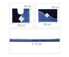 Relaxdays Set 2 Tappetini da Bagno con Motivo Grafico, Lavabili, per WC, Bidet, Doccia, Vasca, Poliestere, Blu, 80 x 50 cm