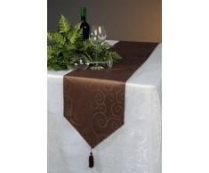 Runner da tavolo damascato Circle tavolo Band tovaglia Modern biancheria da tavola # 258, Poliestere, marrone scuro, 30 x 100 cm