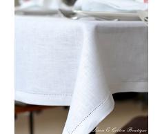 Lusso Tovaglia da Tavola In Stoffa Con Orlo A Giorno, Bianco - 100% Lino (143 x 143cm)