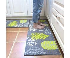 U 'artlines tappeti da Cucina Set 2 Pezzi in Set da Cucina tappeti e tappeti Runner Gomma Antiscivolo Durevole Tappetino zerbino Lavabile in Lavatrice (45 x 70,1 cm + 45 x 119,9 cm)