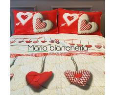 Completo Lenzuola In Flanella, Per Letto Matrimoniale 2 Piazze, Modello Europa Disegno Cuore Colore Rosso