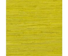 Tappeto tesuto a mano con toppe, indiano, Kelim. Tappeti per soggiorno, cucina, camera da letto, bagno o corridoio. Monocolore, 100% cotone, Gelb, 40 x 60 cm