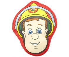 Character World FMS-HEA-CL5-MSC-06 - Cuscino ufficiale con grande faccia di Sam il Pompiere, da 35 x 35 cm, in peluche di poliestere al 100%, colore: Colori vari