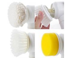 Spazzola magica 5 in 1, potente spazzola elettrica per la pulizia di cucina, doccia, vasca da bagno, bidet, divani e tappeti, completa di panno in PVA