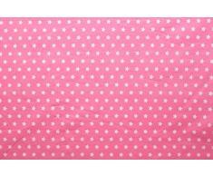 Stelle - tessuto di 100% cotone - stelle bianche su sfondo colorato - stoffa al metro (rosa)