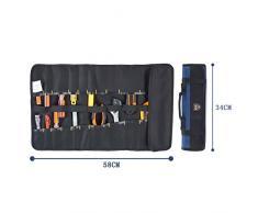 Babimax Borsa degli attrezzi a rotolo, portatile ,Materiale di Oxford stoffa 58x 34 cm per elettricista e lavoro aereo colore blu