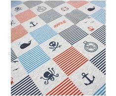 VmG-Store - Tessuto al metro in Jersey di cotone, da cucire, stoffa per bambini, 150 cm di larghezza, Ja006 - Angoli marini, 25 x 150cm