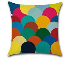 Aipark 4 Pezzi 45 x 45 cm Federe per Cuscini Decorative con Forme Geometriche Colorate in Cotone e Lino per divani, Letto, Sedie e camere