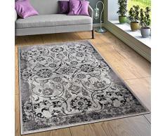 Tappeto Di Design Tappeti Soggiorno Floreali Effetto Vintage Bordi Nero Bianco, Dimensione:120x170 cm