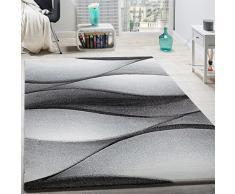 Tappeto Di Design Moderno Astratto Effetto A Onde Taglio Sagomato In Grigio Antracite, Dimensione:60x110 cm
