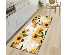 WGOO Carpet Tappeti Cucina Lavabile Antiscivolo Design Tappeto da Cucina,Bellissimo Tappeto da Bagno 7MM con Stampa Girasole,60X180CM