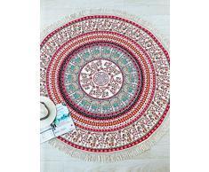 ganesham Handi Crafts - Indiano Mandala Hippie Ombre Boho Decorazione zingara della Boemia, decorazione domestica, panno di cotone, panno di mobili, tappeto yoga, tappezzeria di meditazione arazzi, roundie spiaggia, spiaggia di