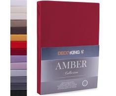 DecoKing Lenzuolo sotto con Angoli Elasticizzati 100% Jersey in Cotone, Amber Collection, 160x200-180x200 cm, Bordeaux