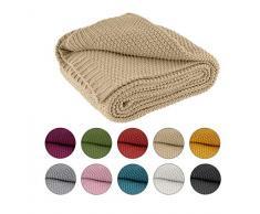 Coperta lavorata a maglia, 140 x 190 cm, beige – Coperta a maglia OekoTex, calda e morbida, collezione autunnale, inverno 20/21, regalo