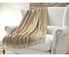 Lussuoso Cashmere Madreperla 130 x 220 cm in 100% cachemire con acqua glanz, Coperta di lana in beige