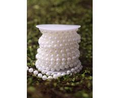 10 m/roll 8 mm perla artificiale ghirlanda con perline corda cordone da tenda, club, feste di matrimonio (bianco)