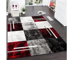 Tappeto Di Design Moderno Orlo A Quadri Effetto Marmo Rosso Grigio Crema Nero, Grösse:60x110 cm