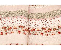 1001 Wohntraum 17jn20 Quilt Greta Rose Fiori, 220 x 230 cm, Coperta plaid, Vintage Shabby soffitto, paese casa rosa