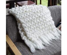Yunt Coperta Tessuta a Mano Coperta a Mano Lana Spessa Grosso Grosso Lavoro a Maglia per la Decorazione Domestica -Bianca