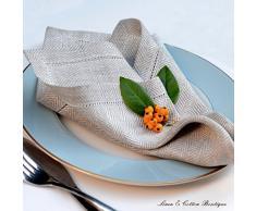 Linen & Cotton Set Di 4 Tovaglioli In Stoffa Con Orlo A Giorno OXFORD, 100% Lino - Beige/Naturale (44cm x 44cm)
