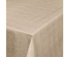 Anro - Tovaglia in tela cerata effetto lino, asciugamani PVC, Beige, 240 x 140cm