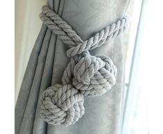 Un Paio di Corde Fermatenda Fatti a Mano in Cotone Ferma Tenda Corde Tenda Curtain Tiebacks (Grigio)