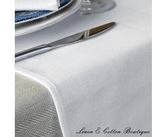 Linen & Cotton Runner Da Tavolo AMELIA, 50% Lino, 50% Cotone - Bianco (47 x 180cm)