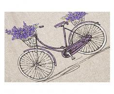 """Tovaglia Cucina Soggiorno """"Biciclette"""" Lavanda Shabby Chic Provenzale cm 140x140 - Made in Italy"""