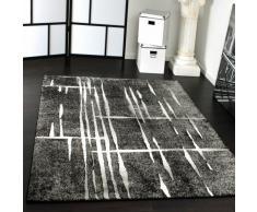 Tappeto Moderno Di Design Pelo Corto Alla Moda Tappeto Melange In Grigio Nero Bianco, Grösse:160x220 cm