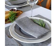 Linen & Cotton Set Di 4 Tovaglioli SCANDI Con Motivi Nordico, 100% Lino - Grigio (44 x 44cm)