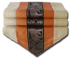 Elefante colore e arancione Runner da tavola tovaglia per cucina soggiorno Thai Silk dimensioni 200 cm x 30 cm
