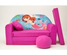 PRO COSMO H4 Bambini Divano Letto futon con Pouf/poggiapiedi/Cuscino, Tessuto, Rosa, 168 x 98 x 60 cm