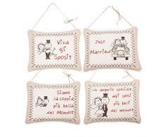 ANGELICA HOME & COUNTRY - Cuscino Dedica Sposi Matrimonio Appendibile Shabby - 24L x 20H x 6P cm