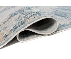 TAPISO Tappeto Salotto Classico Collezione Montreal – Colore Beige Blu Disegno Rosone Vintage – Spesso – Diverse Misure S-XXXL 140 x 190 cm