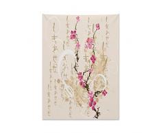 ABAKUHAUS Giapponese Tappeto da Parete e Copriletto, Lettere Sakura Fiori, per la Camera da Letto, 110 x 150 cm, Multicolore