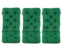 Ambiente Casa Set di 3 schienale alto cuscino sedia pad cuscino cuscino pad sedia giardino verde