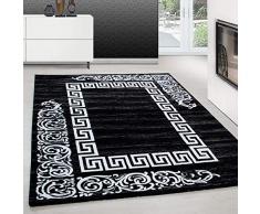 Tappeto dal Design Moderno Tappeto a rettangolo con Motivo Barocco Nero, Dimensione:200 cm x 290 cm