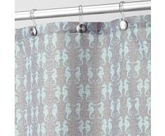 InterDesign Seahorse Tenda da doccia, Tenda per vasca da bagno con design animali, Tenda in poliestere in tessuto da lavare in lavatrice, Poliestere talpa/menta